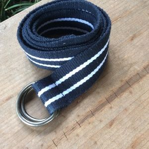 Navy and white stripe D ring canvas belt